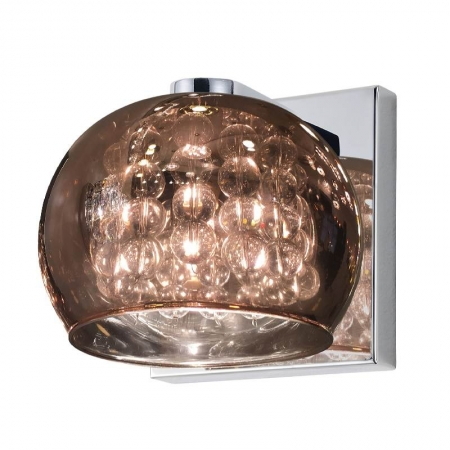 Arandela Soho Vidro Cobre Metal Cromado 1G9 12x12cm HO7616CO Bella