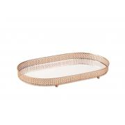 Bandeja Decorativa Oval Metal Cobre com Espelho 38cm 12253 Mart
