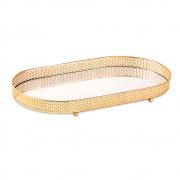 Bandeja Decorativa Oval Metal Dourado com Espelho 38,5cm 12245 Mart