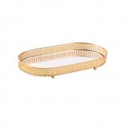 Bandeja Decorativa Oval Metal Dourado com Espelho 33cm 12245 Mart