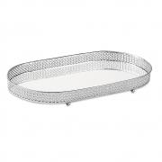 Bandeja Decorativa Oval Metal Prata com Espelho 38cm 12249 Mart
