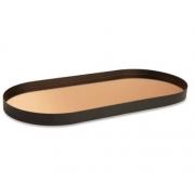Bandeja Decorativa Oval Metal Preto com Espelho Cobre 49,5cm 12460 Mart