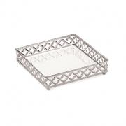 Bandeja Decorativa Quadrada Metal Prata com Espelho 21cm 12013 Mart