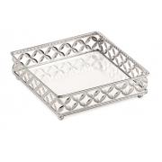 Bandeja Decorativa Quadrada Metal Prata com Espelho 25cm 12013 Mart