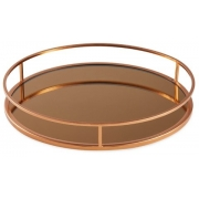 Bandeja Decorativa Redonda Cobre com Espelho Dourado 40cm 13625 Mart