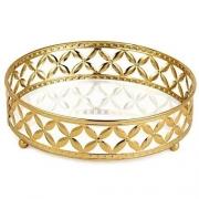 Bandeja Decorativa Redonda Metal Dourado com Espelho 24cm 11997 Mart