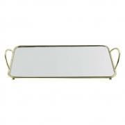 Bandeja Decorativa Retangular Dourada com Espelho 35cm KV0226 BTC