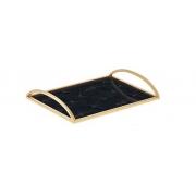 Bandeja Decorativa Retangular Ginkgo Dourada 38cm 13614 Mart