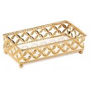 Bandeja Decorativa Retangular Metal Dourada com Espelho 24cm 12021 Mart