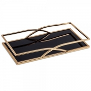 Bandeja Decorativa Retangular Metal Dourado com Espelho Preto 35cm 10165 Mart