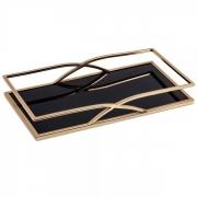 Bandeja Decorativa Retangular Metal Dourado com Espelho Preto 40cm 10165 Mart
