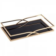 Bandeja Decorativa Retangular Metal Dourado com Espelho Preto 44,5cm 10165 Mart