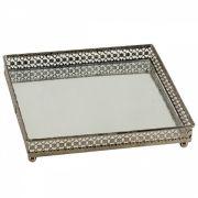 Bandeja Quadrada Espelhada Decorativa Luxo Metal Cor Ferro 17x17cm Kv0078