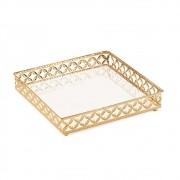 Bandeja Quadrada Dourada em Metal Espelhada 25,5x5cm 12009 Mart