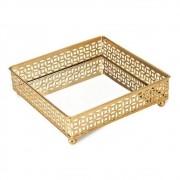 Bandeja Quadrada Dourada Espelhada 12,5x4,5cm 09619 Mart
