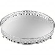 Bandeja Redonda com Espelho de Metal Prata 17,5x4cm 7179 Mart Collection