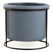Cachepot Azul em Cimento com Suporte em Metal 12x13cm 11882 Mart