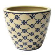Cachepot Decorativo Cerâmica Bege E Azul 17,5X15CM DO0021