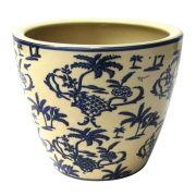 Cachepot Decorativo Cerâmica Bege E Azul 17X15CM DO0018