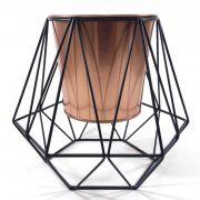 Cachepot Decorativo Metal Cobre e Preto 20x17,5CM QF0008