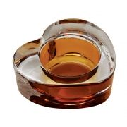 Castiçal Porta Velas De Vidro Coração Transparente/Ambar Decorativo 7CM BC0026B
