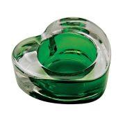 Castiçal Porta Velas De Vidro Coração Transparente/Verde Decorativo 7CM BC0026C