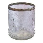 Castiçal Porta Velas De Vidro Detalhado Decorativo 10x12cm Fa0004