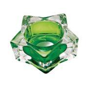 Castiçal Porta Velas De Vidro Estrela Transparente/Verde Decorativo 7CM BC0025C