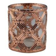 Castiçal Porta Velas De Vidro Metal Cobre Decorativo 7,5X8CM FA0031