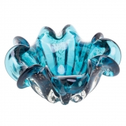 Centro de Mesa Vidro Italy Azul com Detalhes Rose 20cm 4462 Lyor