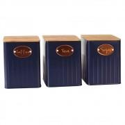 Conjunto Porta Condimentos Metal Azul com Tampa Madeira UC3001 BTC