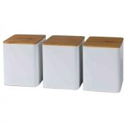Conjunto Porta Condimentos Metal Branco com Tampa Madeira UC3009 BTC