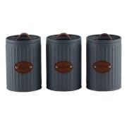 Conjunto Porta Condimentos Metal Cinza Detalhe Couro UC0002 BTC