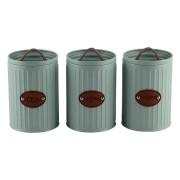 Conjunto Porta Condimentos Metal Verde Detalhe Couro UC0001 BTC