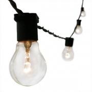 Cordão String Light Varal Preto 20 Lâmpadas 20M Uso Externo