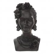 Escultura Busto Decorativo Mulher Africana em Resina Preto 30cm  IL0052 BTC