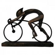 Escultura Ciclista Decorativo em Resina Envelhecida 20cm