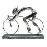 Escultura Ciclista Decorativo em Resina Prateada  20cm