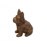 Escultura Decorativa Cachorro Detalhes Geométricos Amadeirado 22cm PO0083 BTC