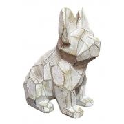 Escultura Decorativa Cachorro Detalhes Geométricos Branco 22cm PO0100 BTC