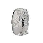 Escultura Decorativa Coruja Sábia Prata em Cerâmica 8,5cm 08652-2 Mart