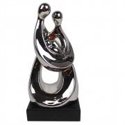 Escultura Decorativa de Cerâmica Prata com Base de Madeira BTC