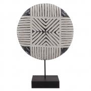 Escultura Decorativa de Madeira Branco e Cinza 32cm KU0035 BTC