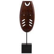 Escultura Decorativa de Madeira Máscara Tribal 34,5cm NK0096 BTC