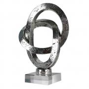 Escultura Decorativa de Resina Cromada com Base em Acrilico 29cm SS0081 BTC
