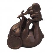 Escultura Decorativa Elefante e Filhote em Resina 23cm PO0084 BTC