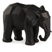 Escultura Decorativa Elefante Preto em Poliresina 19,5cm 13264 Mart