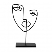 Escultura Decorativa Face em Metal Preto 26cm 12466 Mart