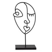 Escultura Decorativa Face em Metal Preto 29cm 12465 Mart