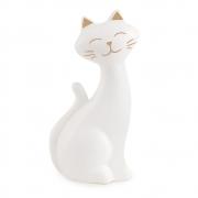 Escultura Decorativa Gato Cerâmica Branco 12cm 11297 Mart
